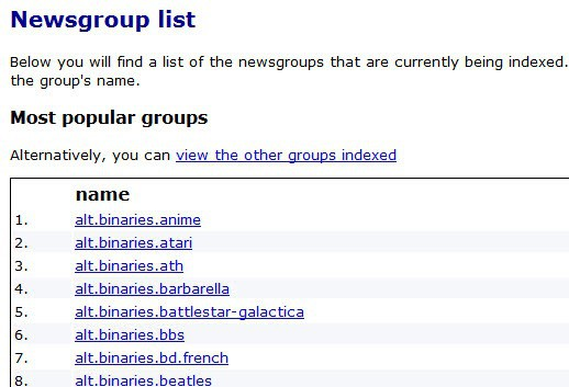 Newsgroups binaries search engine