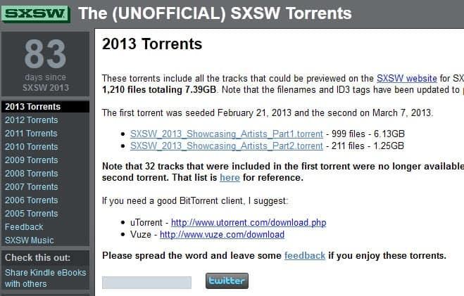 sxsw torrents