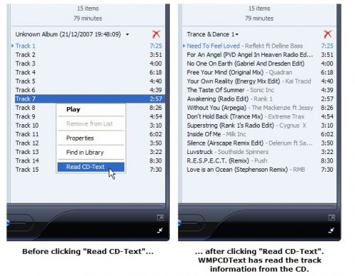 how to get track names on cd windows media player