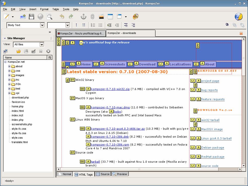Kompozer A Free Open Source And Half Decent Wysiwyg Web Editor Ghacks Tech News