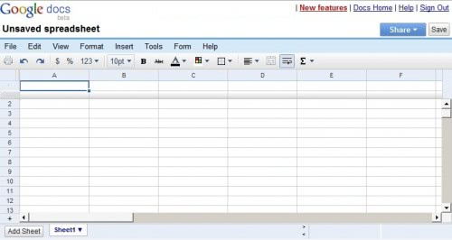 google spreadsheet doc
