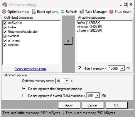 computer memory optimizer
