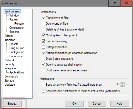 winscp export sessions