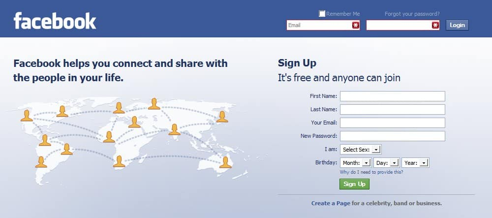 facebook website login