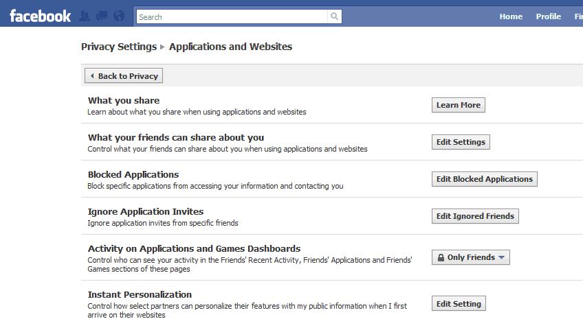 facebook applications websites