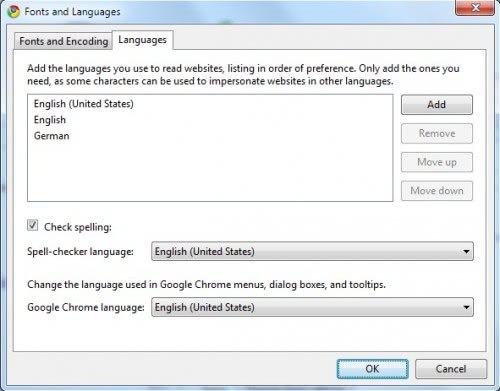 google chrome languages