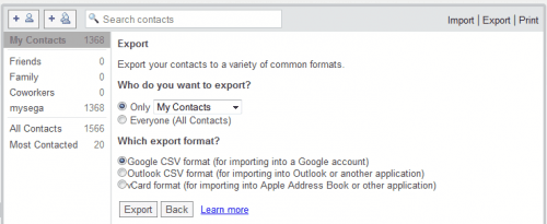 gmail contacts export