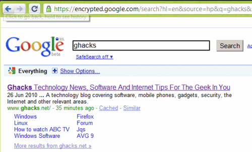 Google Encrypted Web Search (HTTPS) Moved To New Domain