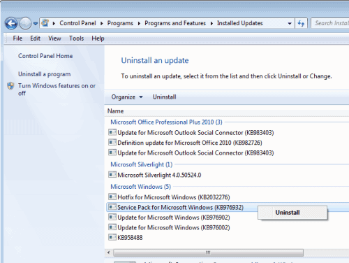 uninstall windows 7 service pack 1