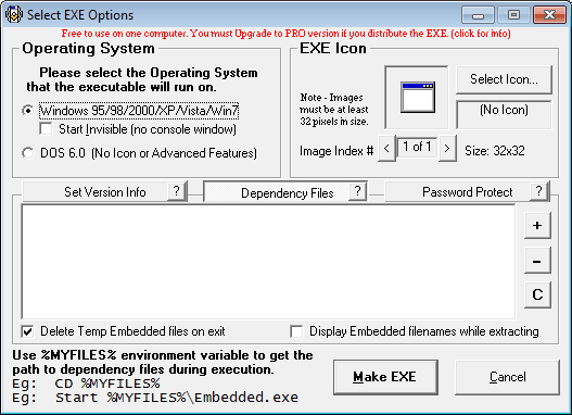 exe options