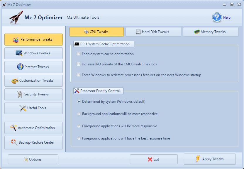 Mz 7 Optimizer Windows 7 Tweaker - gHacks Tech News