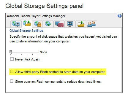 Fix Allow Third-Party Flash Content To Store Data On Your Computer