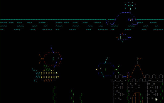 Have some Linux ascii fun with asciiquarium