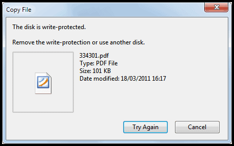 disk is write protected