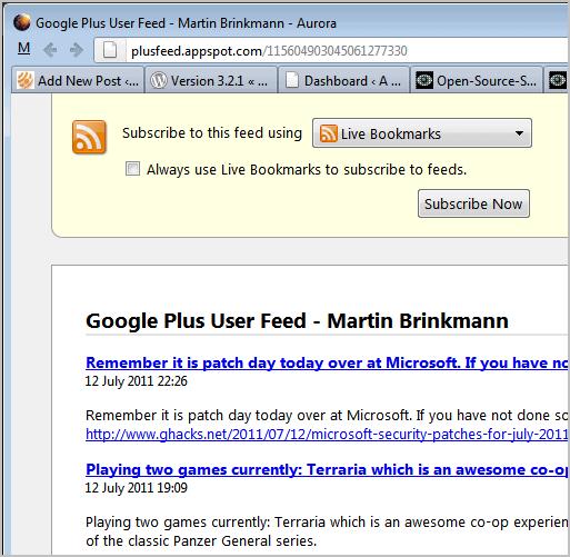google plus rss feed