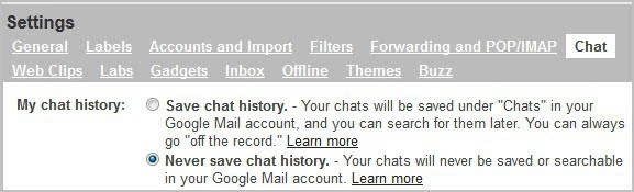 disable chat history in gmail ucla