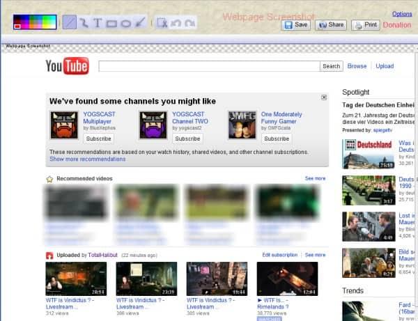 webpage screenshot edit