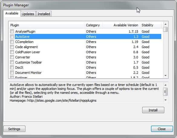 Notepad++ Plugin Manager full screenshot