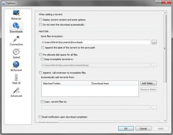 torrent client options