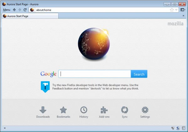 firefox about-home