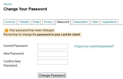 change last.fm password