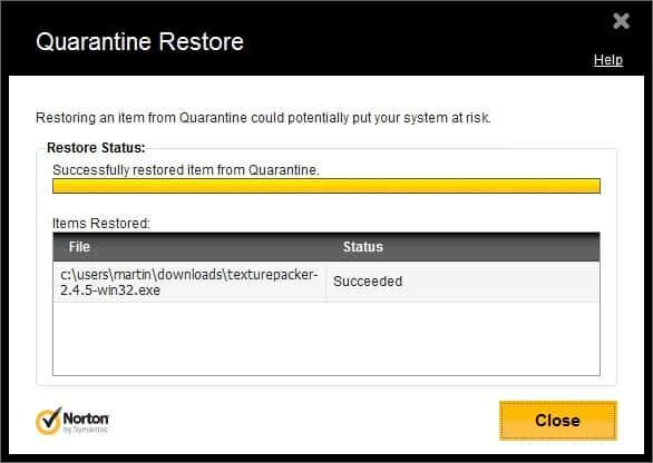 quarantine restore