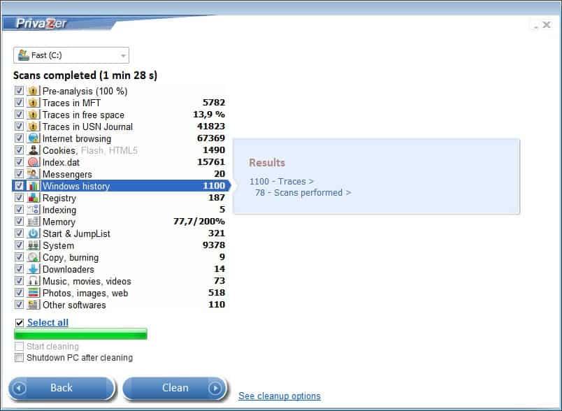 PrivaZer 2.16 бяспечна ачысціць сістэму