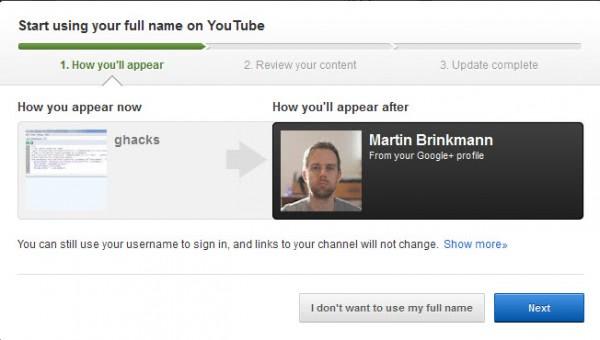 start using your full name on youtube
