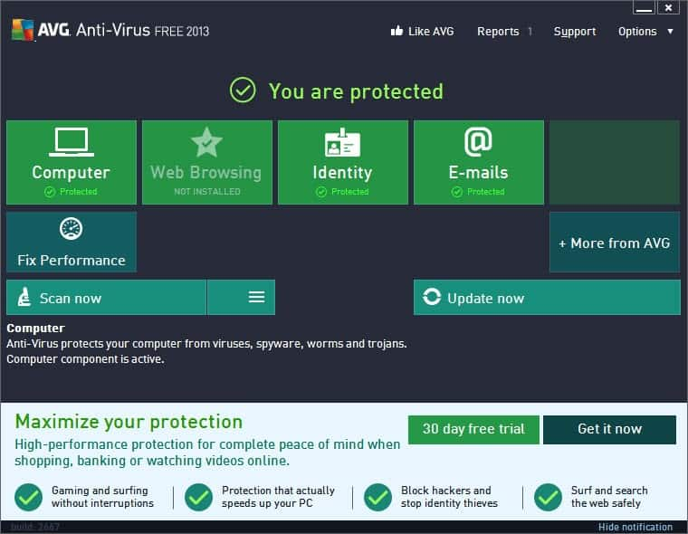 AVG Free Edition 2015 freeware screenshot