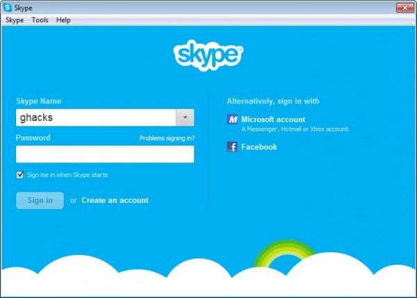 microsoft account facebook sign-in skype