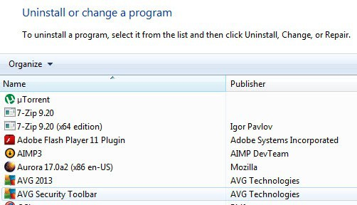 uninstall avg security toolbar