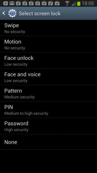 android lock screen password
