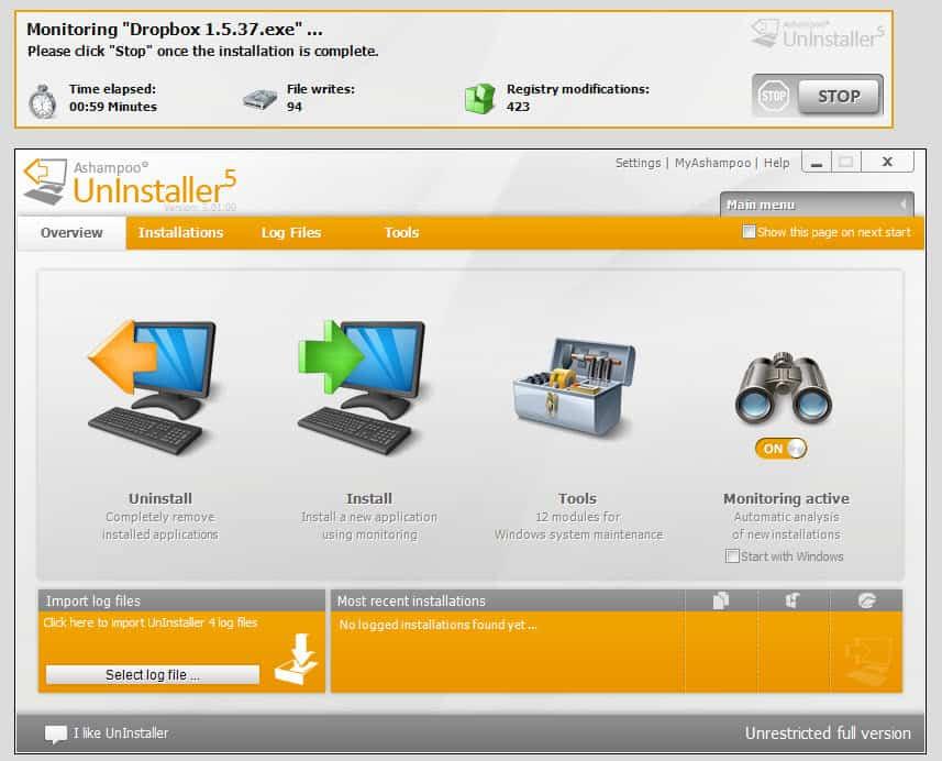 Screenshots of Ashampoo UnInstaller 5.