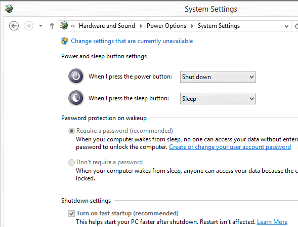 windows 8 fast start