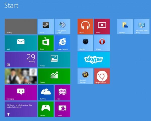 windows 8 start screen increase rows