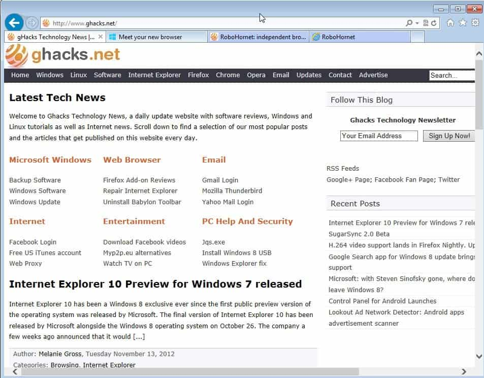 Internet Explorer 10 Preview for Windows 7 Released « WTI ...