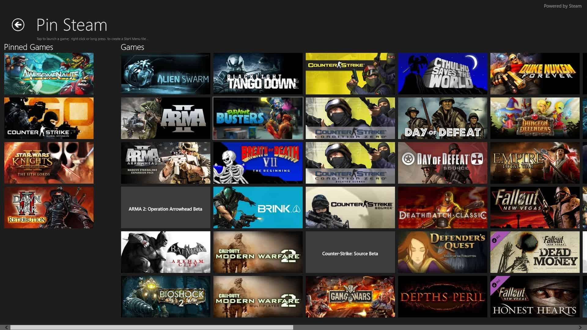 Pin Steam Adds Your Steam Games To Windows 8's Start Screen