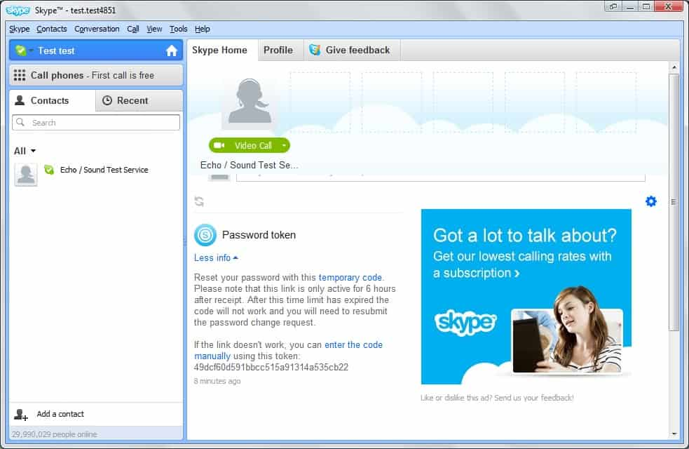 how to create skype name and password