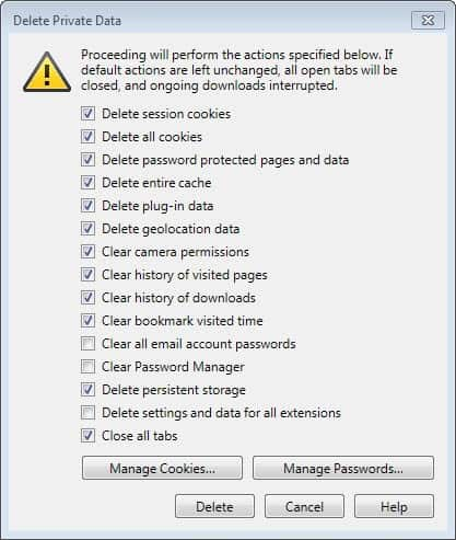 delete settings and data for extensions