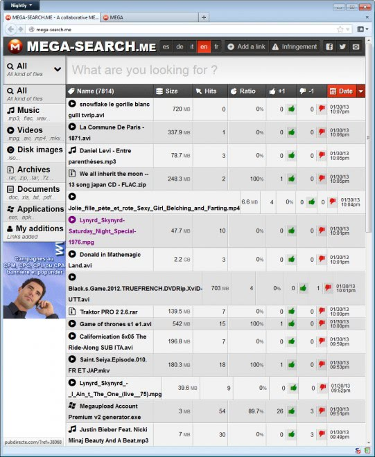 mega search engine screenshot
