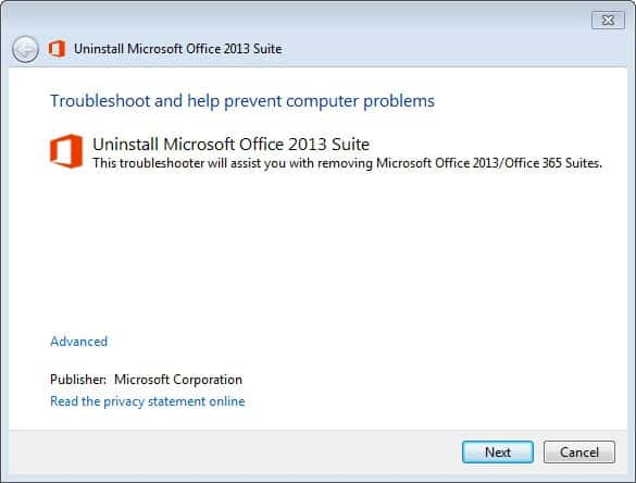 uninstall microsoft office 2013 suite