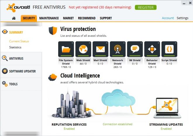 avast free antivirus interface screenshot