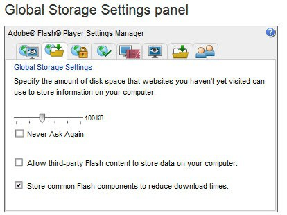 Flash Player Website Storage Settings Panel