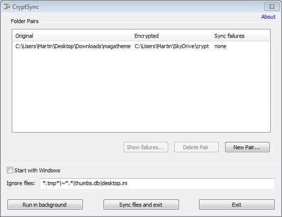 sync  files encrypted screenshot