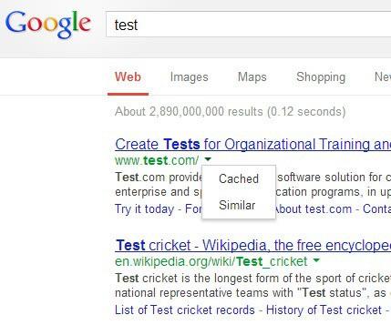 google new search context menu