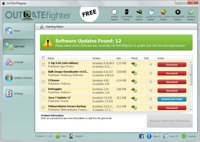 outdatefighter scan program updates