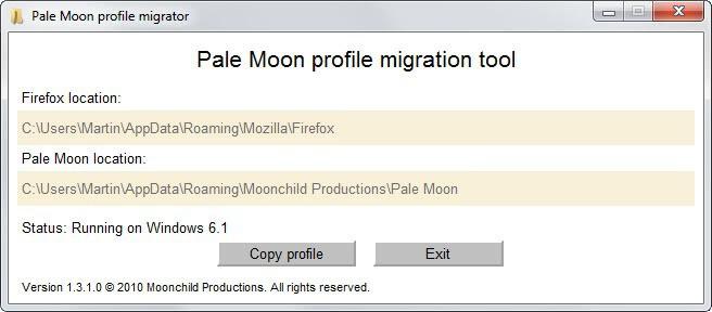 pale moon profile migration tool