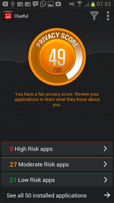 clueful 371x660 - Scan your Android phone for privacy risk