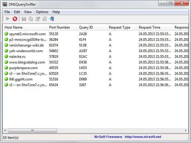 NirSoft DNSQuerySniffer v1.00