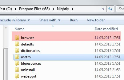 firefox browser metro folder